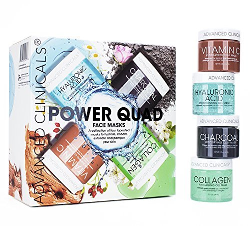 (Advanced Clinicals Power Quad Face Masks Charcoal Mask, Vitamin C Mask, Collagen Mask, Hyaluronic Mask. 2oz each. Great gift set!)
