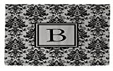 Manual Woodworkers & Weavers Dobby Bath Rug, 4 by 6-Feet, Monogrammed Letter B, Black and Grey Damask