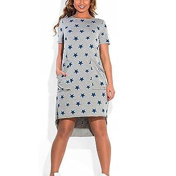 LILICAT® Mini Star vestido para mujer, manga corta bolsillo casual vestido corto Elegante fiesta