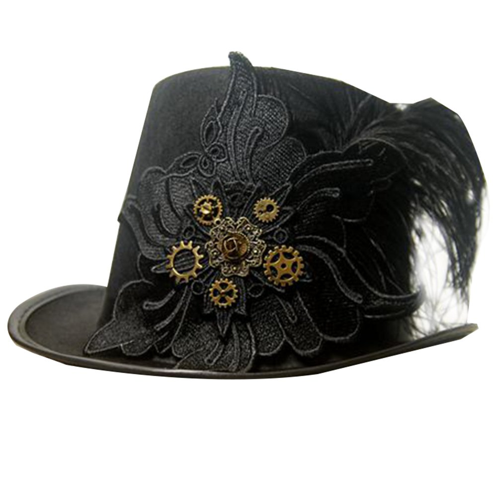 PunkStyle Steampunk Hat for Women with Flocking Feathers Christmas Cosplay Black Headband