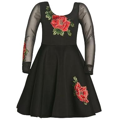 b228a6a73d5 Amazon.com: Bonnie Jean Girls Black Large Floral Scuba Dress (8 ...