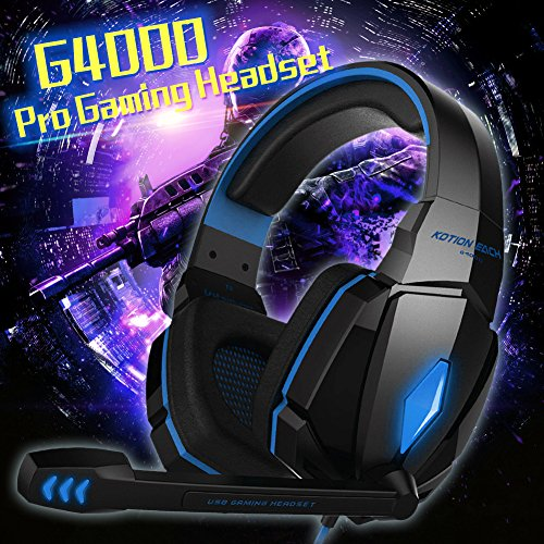 YCDC Pro Gaming Headphone Each G4000 Blue LED Earphone+Mic Surround Sound For PC