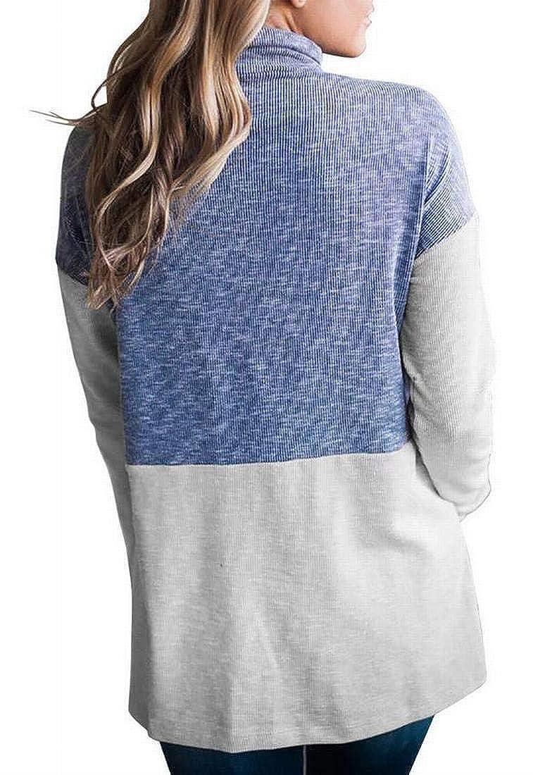 XiaoTianXinWomen XTX Womens 1//4 Zip Turtle Neck Color Blocked Pullover Sweatshirt with Pockets