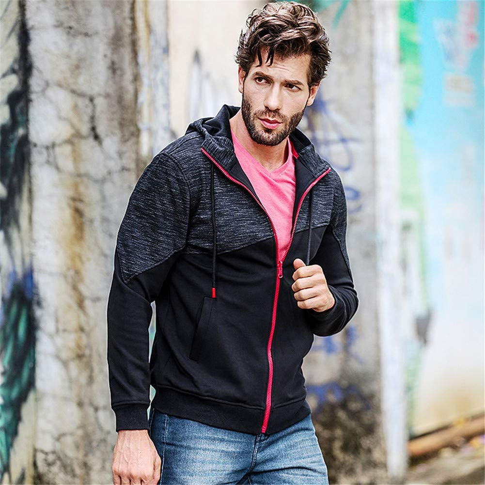 Secret night Männer Kapuzenpullover Knopf-Up Jacke mit Kapuze Sweatshirt Thin Zip-Up Hoodie-Jacke Black