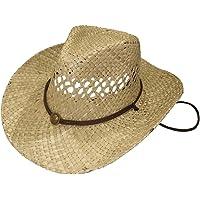 Sombrero de Cowboy de Paja Vaquero Panamá con Banda Occidental Unisex Talla Única Hombre Mujer para Verano
