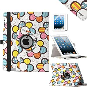 ULAK Stand Case for Apple New iPad 4 & 3 (3rd and 4th Generation with Retina Display) / iPad 2 / 1x Screen protector (Sunflower)