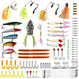RUNCL Fishing Lures Kit, Fishing Baits Tackle - Crankbaits, Spinnerbaits, Fishing Spoons, Topwater Frog, Rooster Tail, Swimbaits, Rubber Worms, Jigs, Fishing Hooks - Saltwater & Freshwater Fishing