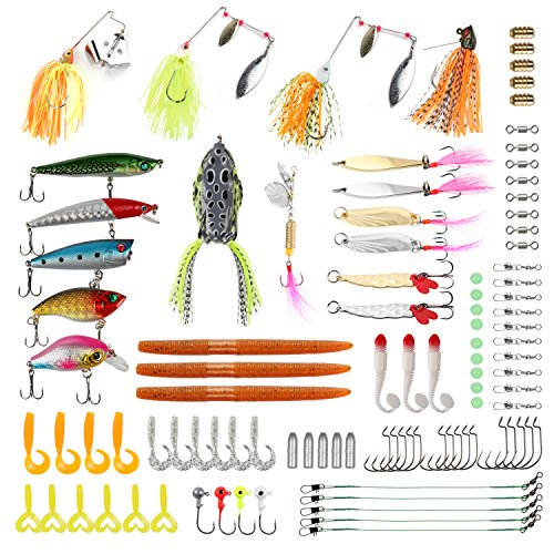 RUNCL Fishing Baits Tackle, Fishing Lures Tackle with Crankbaits, Spinnerbaits, Frogs, Worms, Jigs, Topwater Lures, Tackle Box and More Fishing Lures Kit for Saltwater Freshwater Bass Trout Salmon Tackle Spinnerbait Bait