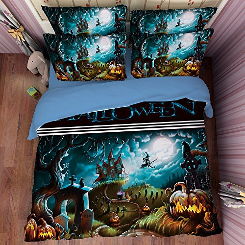 Deluxe Dream Halloween Cotton Microfiber 3pc 80''x90'' Bedding Quilt Duvet Cover Sets 2 Pillow Cases Full Size by DIY Duvetcover