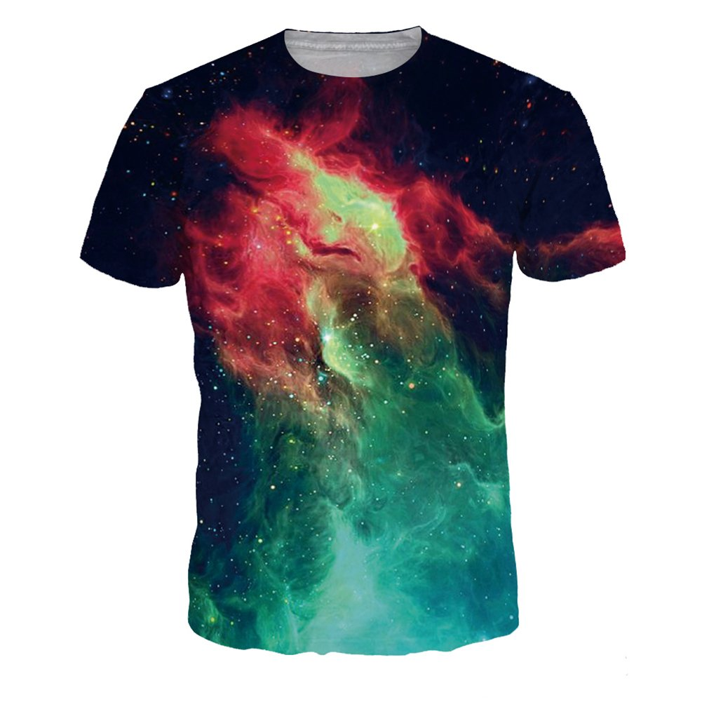 4PING Mens Volcanic Sky Digital Printing T-shirt Short-Sleeved Bottoming Shirt Sports Short Tees