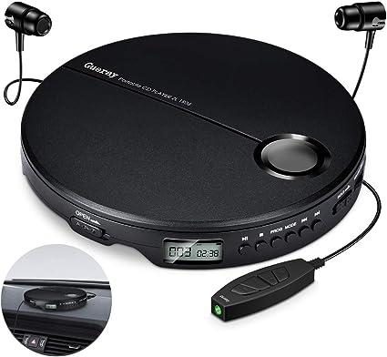Gueray Lecteur CD Portable Walkman avec Casque Soutenir la Lecture de la Carte TF