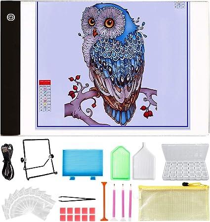 Y-Step - Bloc de luces LED (A4, 30 piezas, incluye caja de 28 ranuras para pintura de diamantes, para dibujar dibujos): Amazon.es: Hogar