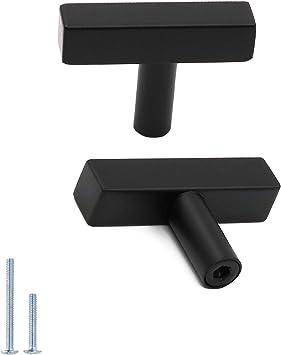 10pack Matte Black Cabinet Knobs Furniture Hardware Drawer Pulls Goldenwarm Lsj22bk Kitchen And Bathroom Knobs T Bar Square Modern Cupboard Door Handles 2 Inch Overall Length Amazon Com