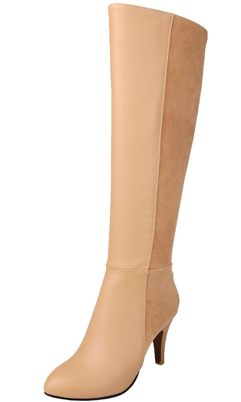 BIGTREE Overknee Stiefel Damen PU Leder Casual Reißverschluss High Heel Herbst Winter Spitzen über Knie Stiefel von Schwarz 38 EU VEMM9eE
