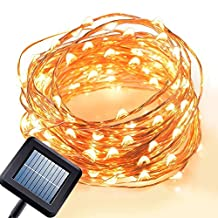 Cooper Wire Solar String Lights, [8 Modes] SUPTMAX 100Led 33ft Garden Fairy Lights Waterproof IP65 LED Starry Light for Christmas, Indoors and Outdoors Decoration (100 LED, Warm White)