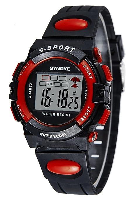 Ninjia Sport Reloj de Pulsera para Niños Redondo Reloj Digital Impermeable con Cronógrafo Alarma y luz