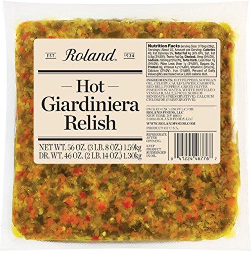 Roland Foods Hot Giardiniera Relish, 56 Ounce (Giardiniera Relish)