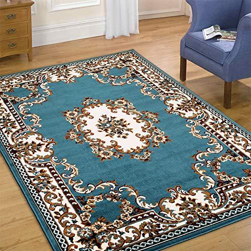 Maxstock Taj Mahal Collection Persian Traditional Design Rectangular Area Rugs -Light Blue/Ivory/Mocha/Black/Beige (8 Feet x 10 Feet)