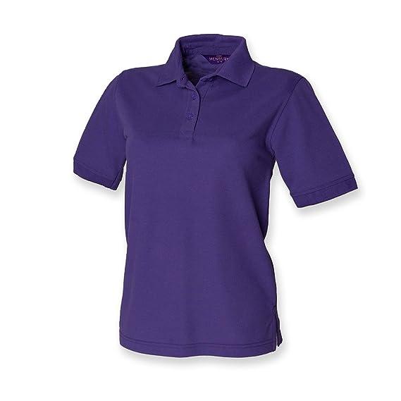 Henbury - camiseta tipo polo para mujer, de piqué Morado morado 44 ...