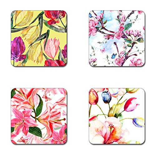 Coaster Diameter - Spring nature with flowers coasters-- 4 inch diameter-Square - neoprene coasters-- Eco-Friendly, Made From 100% Recycled Rubber(Set of 4 )