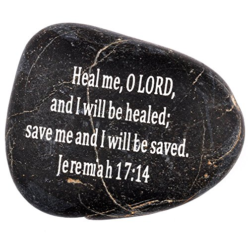 "Engraved Inspirational Scripture Biblical Black Stones collection – Stone VIII : Jeremiah 17:14 : "" Heal me, O LORD, and I will be healed; save me and I will be saved. "" Review"