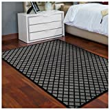 Cheap Superior Davenport Collection Area Rug, 8mm Pile Height with Jute Backing, Classic Diamond Grid Pattern, Fashionable and Affordable Woven Rugs – 8′ x 10′ Rug, Black & Grey