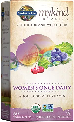 Garden of Life Multivitamin for Women mykind Organics Women's Once Daily Multi Tablets, Biotin, Fruit, 60 Count