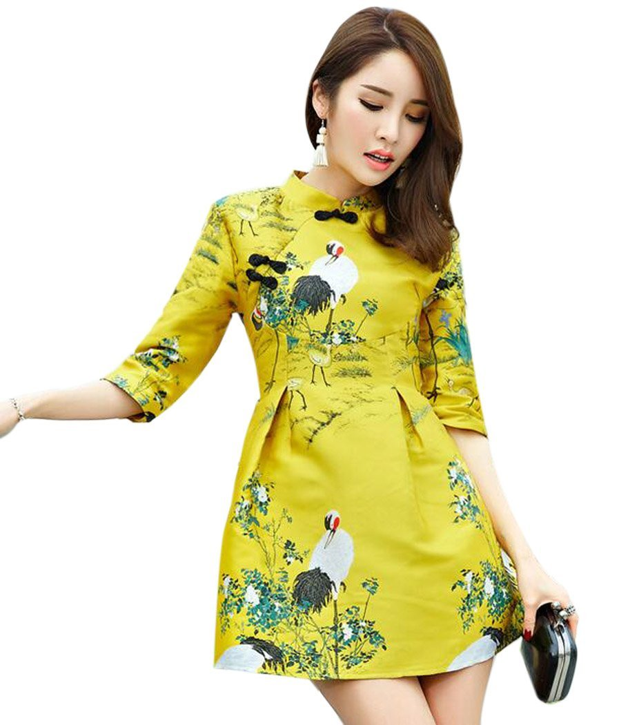 Aro Lora Women's Crane Embroidery A-line Tunic Cocktail Party Prom Short Dress US 6-8 Yellow
