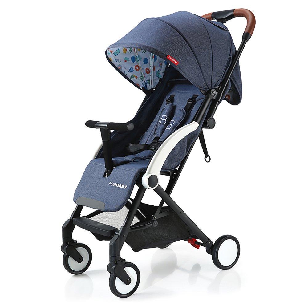 SpringBuds Lightweight Baby Stroller Anti-shock Toddler Travel Buggy with Sun Canopy&Storage Basket-Navy Blue