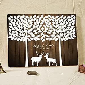 Max345Gall Libro de Invitados de Boda con diseño de árbol