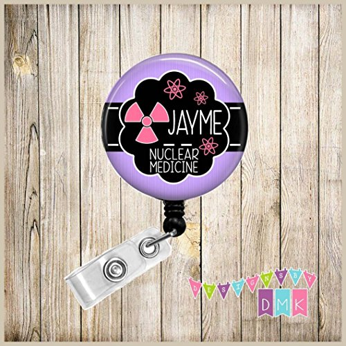 Personalized - Nuclear Medicine - Radioactive Symbol with Atoms - Light Purple with Pink - Button Badge - Radioactive Light