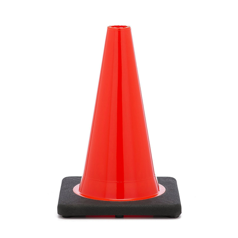 (Set of 12) RK PVC Traffic Safety Cone, Black Base, 18-Inch, Orange