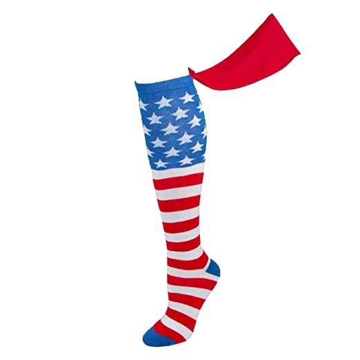 78054082e97 Image Unavailable. Image not available for. Color  MyPartyShirt Generic  American Flag Knee High Cape Socks