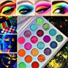 Glow-in-the-dark-paint-Kalolary-Neon-Eyeshadow-Glow-Palette-UV-Glow-Blacklight-Matte-and-Glitter-24-Colors-Highly-Pigmented-Eyeshadow-Kit-with-4-Brushes-for-HalloweenChristmas-Face-Body-Makeup