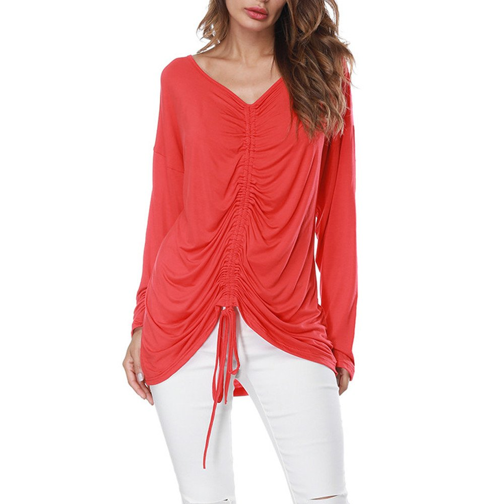 Women Long Sleeves Shirts Deep V-Neck Elastic Bandage Solid Pure Color Tops Loose T-Shirt Blouse Two Style Tops