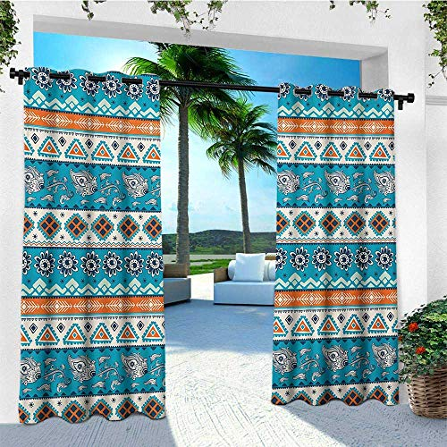 (leinuoyi Tribal, Outdoor Curtain Kit, Aztec Ethnic Print with Persian Tulips Floral Spring Season Bohemian Art, Fabric by The Yard W72 x L96 Inch Blue Orange and White)