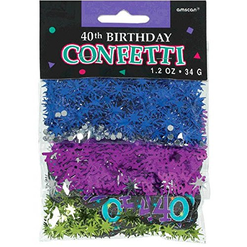 The Party Continuous 40th Birthday Party Confetti Decoration, Multi , 1.2 Ounces, (40th Birthday Party Invitations)