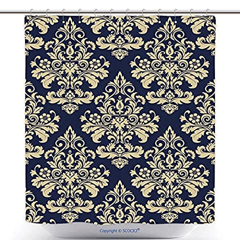 Unique Shower Curtains Floral Pattern Wallpaper Baroque Damask Seamless Vector Background Gold And Blue Ornament 522835621 Polyester Bathroom Shower Curtain Set With - Madison Florals Wallpaper