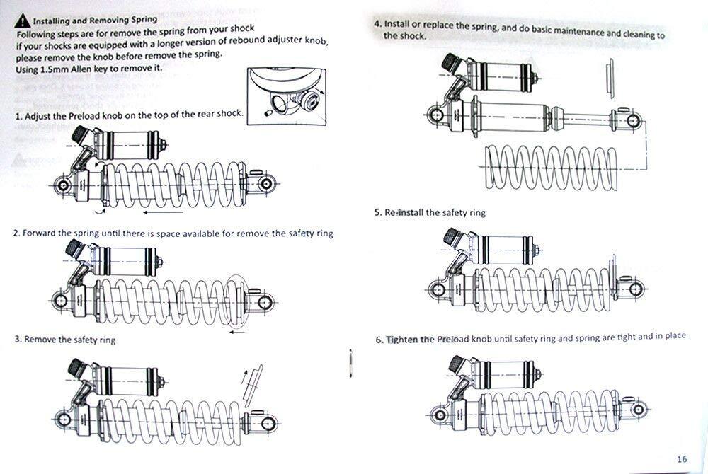 DNM Bike Ebike Shock RCP2S Air Suspension Shock Eye to Eye Size 190mm to 240mm