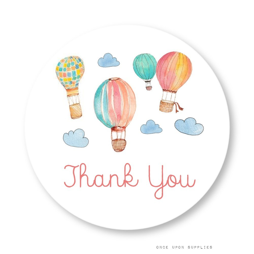 Hot Air Balloon Thank You Stickers, Mason Jar Labels, Party Favor Labels, Cupcake Toppers, by Once Upon Supplies, Birthday Party & Baby Shower Decoration, 2'' Fits Regular Canning Jars, 40 Stickers