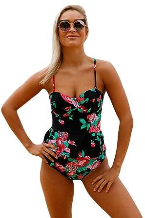 f7de4510b0 Women s Sexy 2pcs Tropical Leaf Print Tankini Pink Flounce Swimsuit with  High-waisted Swim Bottom