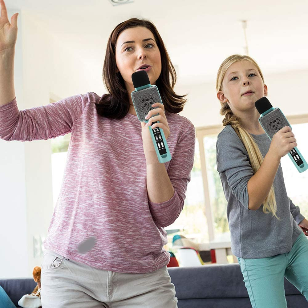 green HOKLAN Karaoke Microphone for Kids Age 4-12,Voice Changer Best Birthday Gifts for 5 6 7 8 9 10 11 Years Old Teens Girl Boys Toddlers Toys For 3-16 Years Old Girls Gifts