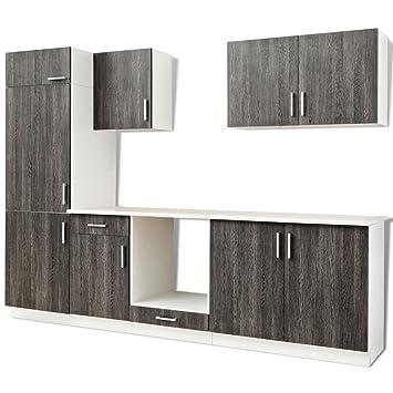 Conjunto de muebles para la cocina color wengué para frigorífico ...