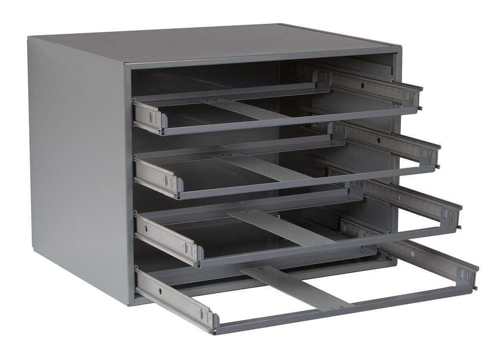 Durham 303-95 Gray Cold Rolled Steel Easy Glide Slide Rack for 4 Large Compartment Box, 20'' Width x 15'' Height x 15-3/4'' Depth by Durham