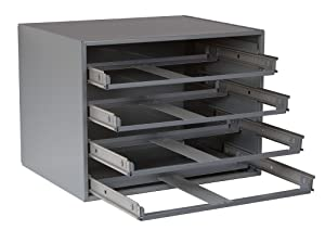 """Durham 303-95 Gray Cold Rolled Steel Easy Glide Slide Rack for 4 Large Compartment Box, 20"""" Width x 15"""" Height x 15-3/4"""" Depth"""