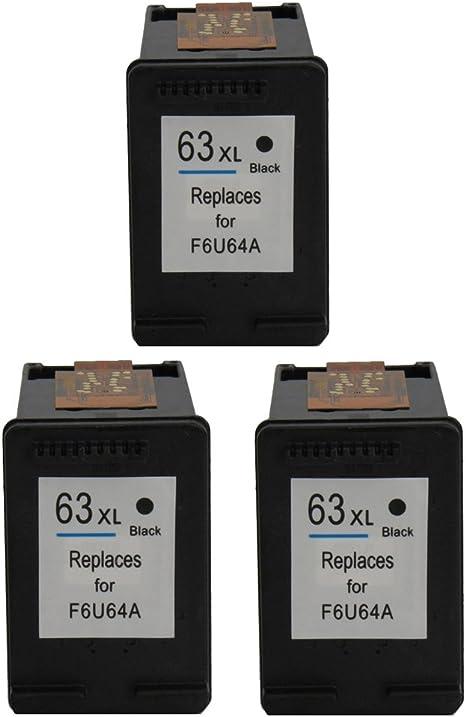 ColorStar 3 unidades negro Compatible cartucho de tinta para HP 63 ...