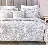 Tahari Home Luxurious Bedding 3 Piece Full/Queen Duvet Set - Metallic Silver, Grey, Light Beige Floral Paisley Pattern on White | 400 Thread Count 100% Cotton Sateen