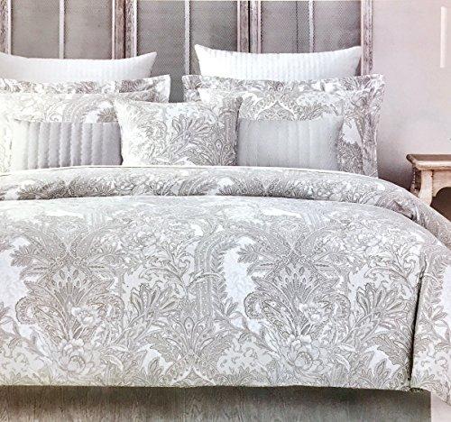 Tahari Home Luxurious Bedding 3 Piece Full/Queen Duvet Set - Metallic Silver, Grey, Light Beige Floral Paisley Pattern on White | 400 Thread Count 100% Cotton Sateen (Duvet Paisley Cover Italian)
