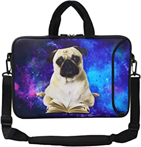 "Violet Mist 13""15""15.6""Neoprene Laptop Sleeve Bag Waterproof Sleeve Case Briefcase Pouch Bag Adjustable Shoulder Strap External Pocket for Men Women(11""12""13""-13.3"",Book Pug)"