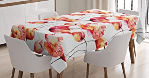 Ambesonne Watercolor Flower Tablecloth, Shaded Large Poppy and Tulip Flower Painting Spring Blooms Season, Rectangular Table Cover for Dining Room Kitchen Decor, 60